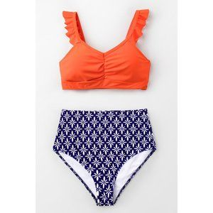 Cupshe Tangerine Ruffled High Waisted Bikini